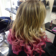 Gemini Hair Style_blonde curls ombre pink
